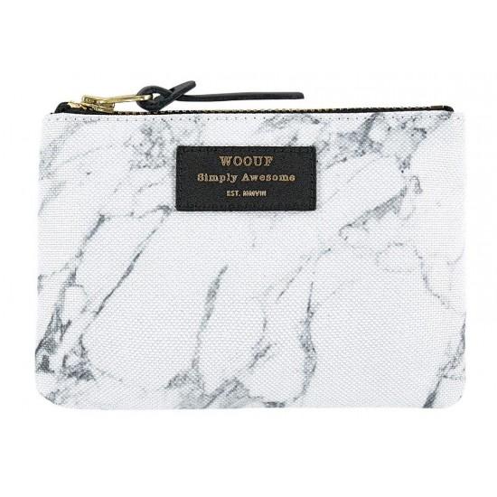 Woouf - Pochette large imprimé marbre blanc