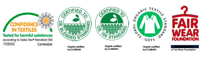 Textile 100% biologique. Sa fabrication respecte les droits de l'homme et l'environnement.